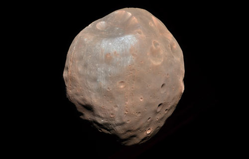 one of the two moons of Mars: Phobos, taken on 23 March 2008 from a distance of 6,800 kilometers
