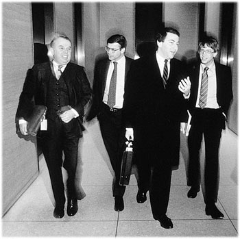 IPO day for Microsoft - Frank Gaudette, Jon Shirley, Michael Rome and Bill Gates, 1986