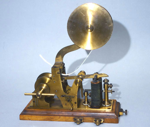 the Samuel Morse Telegraph Receiver: the scheme that would occupy ninety-five percent of the world's considerable telegraphic traffic by 1880 was not invented by a scientist but by an accomplished artist and sculptor, President of the American Academy of Design, Samuel F. B. Morse