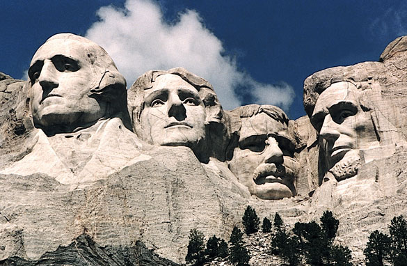 Mount Rushmore: George Washington, Thomas Jefferson, Theodore Roosevelt, and Abraham Lincoln