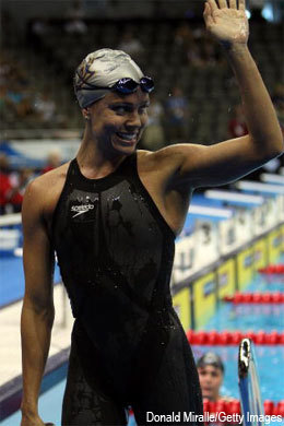 Natalie Coughlin reclaims her world mark in the 100-metre backstroke one heat after Hayley McGregory took it down at the U.S. Olympic swimming trials