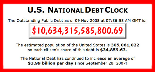 US National Debt has continued to increase an average of $3.99 billion per day since September 28, 2007
