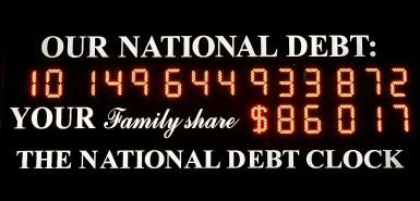National Debt Clock in Times Square in New York has run out of digits