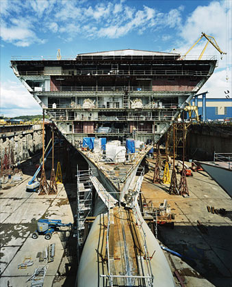 once Oasis is completed, this channel in the dry dock will be flooded to set it afloat