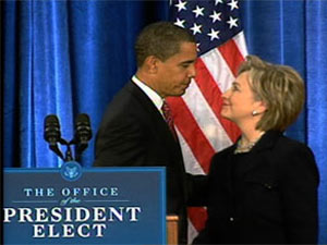 president-elect Barack Obama announced his nomination of Sen. Hillary Clinton as secretary of state