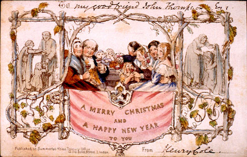 What is believed to be one of the first mass-produced Christmas cards - dating back more than 160 years. designed for Henry Cole by his friend, the English painter John Calcott Horsley (1808-1882) The lithographed card caused a controversy in some quarters of Victorian English society when it was published in 1843 because it prominently features a child taking a sip from a glass of wine.