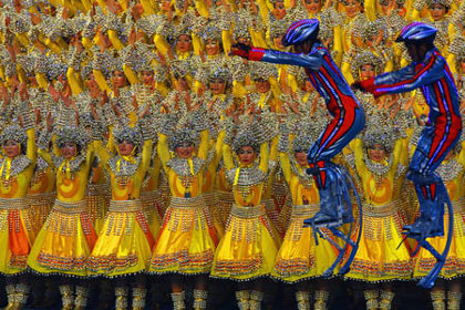 dancers and performers at closing ceremony for Beijing 2008 Olympic Games