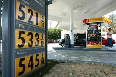 Gasoline prices over $5 per gallon are displayed at a Shell station in San Mateo, California, June 23