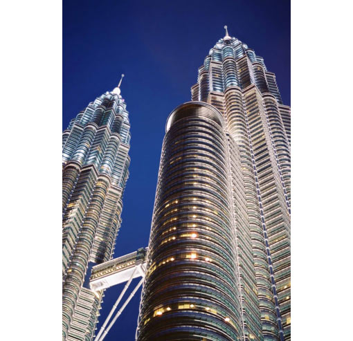 Petronas Towers, Malaysia, completed in 1998 (1,482 ft - 542 m)