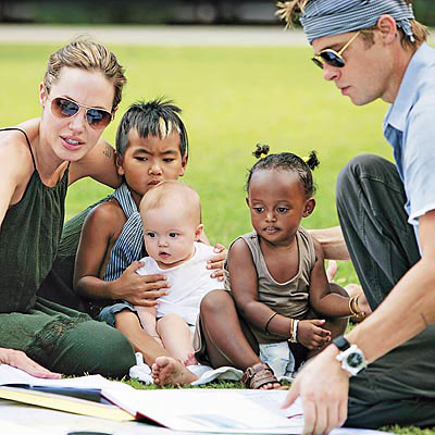The Pitt-Jolie family: with children Maddox, Zahara, and Shiloh