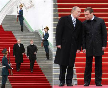 President Dmitry Medvedev with predecessor Vladimir Putin during inauguration ceremony at the Kremlin
