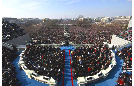 President Barack Obama giving his inaugural address to the millions assembled spectators