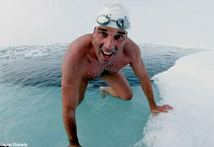 I d-d-d-did it: Pugh emerges after his polar swim
