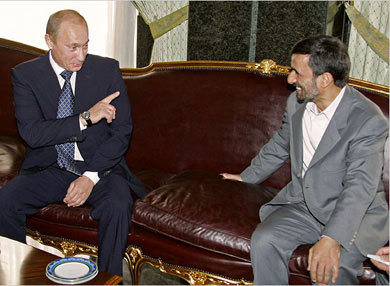 President Vladimir V. Putin of Russia with President Mahmoud Ahmadinejad of Iran in Tehran