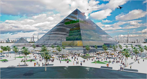 'You could develop a community surrounding each of these vertical farms,' said Dr. Despommier, who believes that striking designs like this pyramid are key to the concept's success. 'You want people to say, 'I want that in my backyard.'