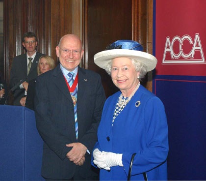 Her Majesty The Queen at the Association of Chartered Certified Accountants with ACCA President John Brace