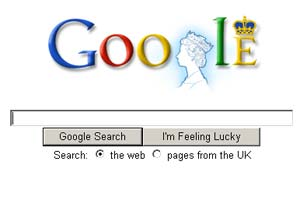 Her Majesty Queen Elizabeth II on Google logo to mark her visit to the offices of Google London