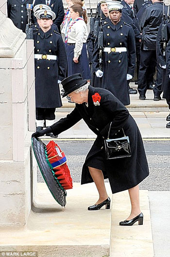The Queen lays her wreath on Remembrance Day