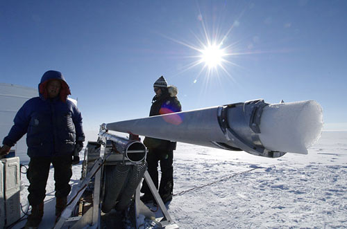 researchers collect ice samples using this drill