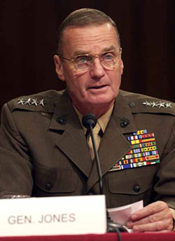 Marine Gen. James L. Jones, Jr., commander of U.S. European Command and Supreme Allied Commander Europe, gives opening remarks to the Senate Armed Services Committee on Sept. 23