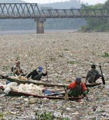 a river in China, choking on plastic