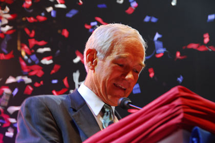 Ron Paul addresses the crowd of 10,000+