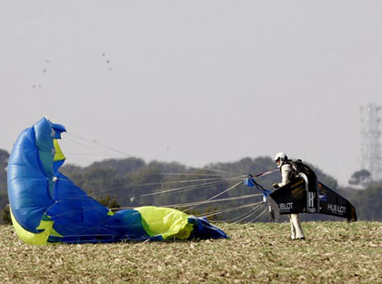 Rossy was blown slightly away from his landing spot by a tailwind. 'It's like I am in a second world,' he said after touching down. 'It is a mix of reality and dreams'