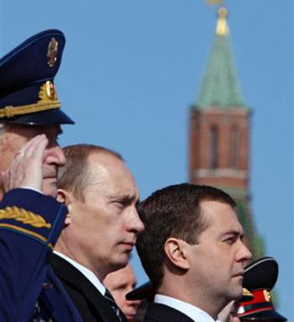 Russian President Dmitry Medvedev, right, and his predecessor who became Prime Minister, Vladimir Putin