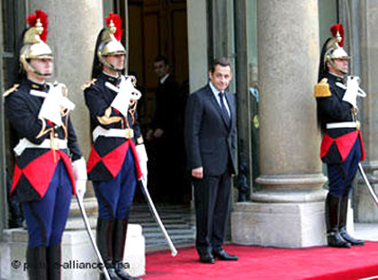 Sarkozy wants to redeploy his forces -- not necessarily in front of his office, though