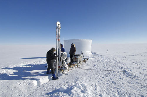 scientists, journalists and Danish environmental officials land at NEEM, the North Greenland Eemian Ice Drilling project