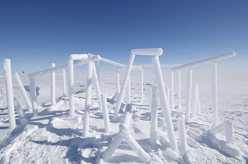 scientists at NEEM use spare core samples to construct ice sculptures like this one