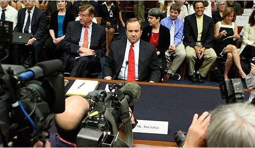 former White House press secretary Scott McClellan testifying before the House Judiciary Committee on Friday