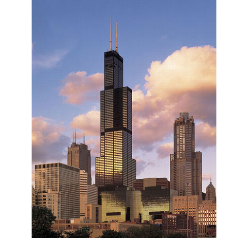 Sears Tower, United States, completed in 1973 (1,729 ft - 527 m)