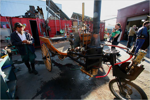 Shannon O'Hare made final adjustments to his vegetable-oil-fired, steam-powered vehicle, a highly modified horse cart