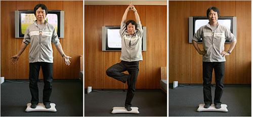 Shigeru Miyamoto illustrates the Wii Fit system