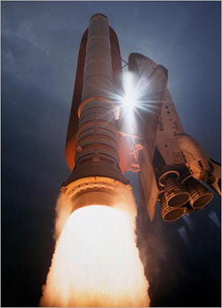 launching of a space shuttle from the Discovery Channel Series - When We Left Earth