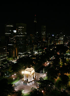 ...and after the city plunged into darkness. Sydney's ANZAC Memorial (lower left) remained illuminated