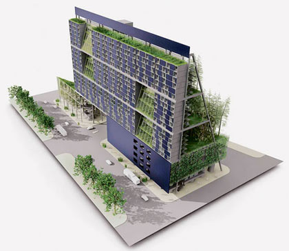 Architects at Mithun, a Seattle architectural firm, proposed a small-scale vertical farm design for a Center for Urban Agriculture in downtown Seattle. The design won an award in the Living Building Challenge of the Cascadia Region's chapter of the U.S. Green Building Council in 2007