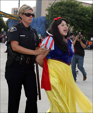under arrest - Snow White is taken away