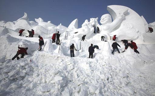 snow sculpture taking shape at Harbin Snow Festival