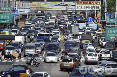 Traffic congestion in downtown Seoul, South Korea
