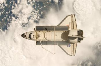 Space Shuttle Discovery soon after the shuttle and the International Space Station began their post-undocking relative separation on Wednesday June 11, 2008