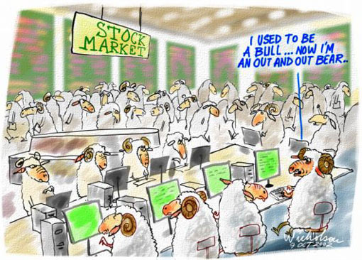 Stock market stock exchange boom bust; Sheep: I used to be a bull... Now I'm an out and out bear