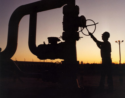 a techinician works on one of the Strategic Petroleun Reserve's wellheads in the Gulf Coast