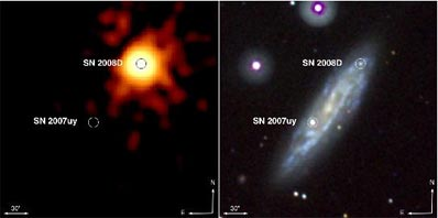 bright X-ray burst from an exploding star, and appearance of  SN 2008D