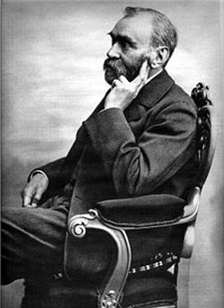Alfred Bernhard Nobel (Stockholm, 21 Oct. 1833 - Sanremo, Italy, 10 Dec. 1896), a Swedish chemist, engineer, innovator, armaments manufacturer & the inventor of dynamite. He owned Bofors, a major armaments manufacturer