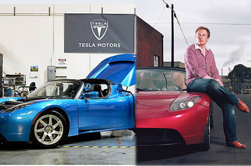 Tesla Motors Product Architect and Engineer Elon Musk with high-performance Tesla Roadster