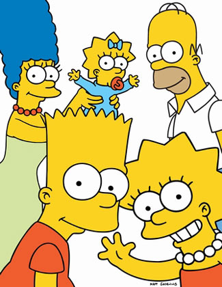 The Simpsons: Bart, Lisa, Marge, Maggie, Homer