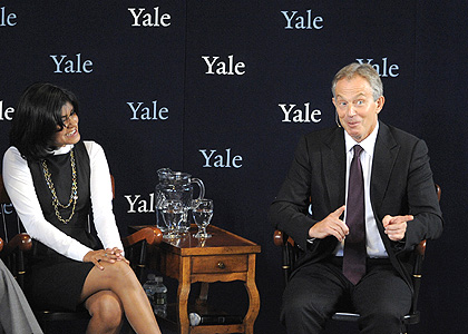 former British prime minister Tony Blair with student Lita Tandon