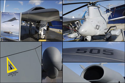 Unmanned aircrafts: Northrop Grumman has three on show, the X-47B Unmanned Combat Air System, Global Hawk and the MQ-8B Fire Scout VTOL helicopter